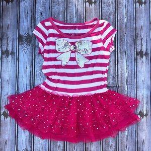 One Step Up Brand Striped & Ruffle Dress